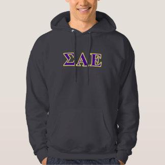 Sigma Alpha Epsilon Purple and Yellow Letters Hoodie