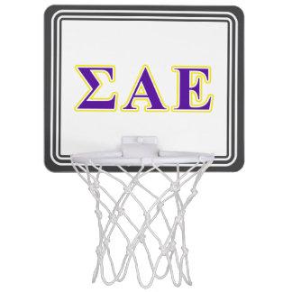 Sigma Alpha Epsilon Purple and Yellow Letters Mini Basketball Hoop