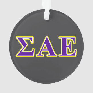 Sigma Alpha Epsilon Purple and Yellow Letters Ornament