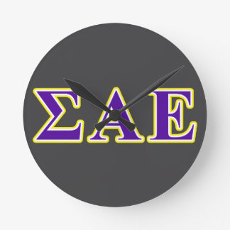 Sigma Alpha Epsilon Purple and Yellow Letters Round Clock