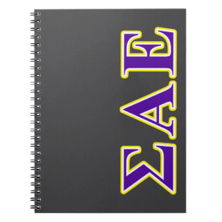 Sigma Alpha Epsilon Purple and Yellow Letters Spiral Notebook