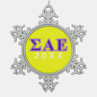 Sigma Alpha Epsilon Purple Letters Snowflake Pewter Christmas Ornament