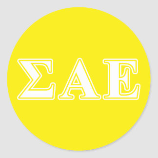 Sigma Alpha Epsilon White and Yellow Letters Classic Round Sticker