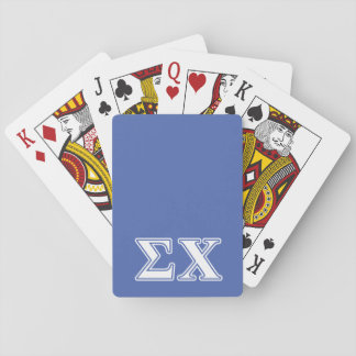 Sigma Chi White and Blue Letters Playing Cards