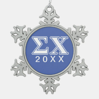 Sigma Chi White and Blue Letters Snowflake Pewter Christmas Ornament