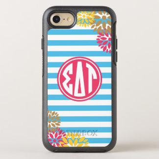 Sigma Delta Tau | Monogram Stripe Pattern OtterBox Symmetry iPhone 8/7 Case