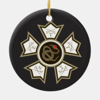 Sigma Nu Badge Round Ceramic Ornament