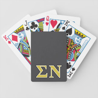 Sigma Nu Black and Gold Letters Bicycle Playing Cards