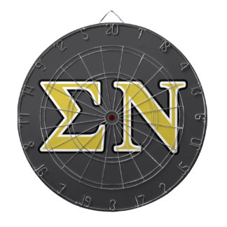 Sigma Nu Black and Gold Letters Dartboard