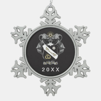 Sigma Nu Crest Snowflake Pewter Christmas Ornament