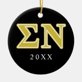 Sigma Nu Gold Letters Ceramic Ornament
