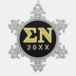Sigma Nu Gold Letters Snowflake Pewter Christmas Ornament