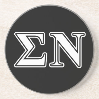 Sigma Nu White and Black Letters Coaster