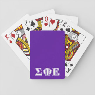 Sigma Phi Epsilon White and Purple Letters Playing Cards