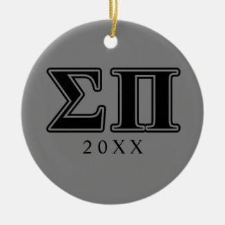 Sigma Pi Black Letters Ceramic Ornament