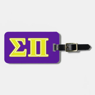 Sigma Pi Yellow Letters Luggage Tag