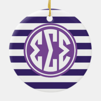 Sigma Sigma Sigma | Monogram Stripe Pattern Ceramic Ornament