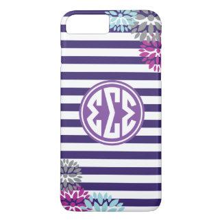 Sigma Sigma Sigma | Monogram Stripe Pattern iPhone 8 Plus/7 Plus Case