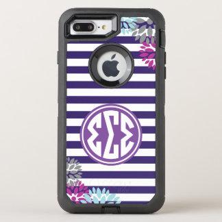 Sigma Sigma Sigma | Monogram Stripe Pattern OtterBox Defender iPhone 8 Plus/7 Plus Case