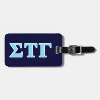 Sigma Tau Gamma Blue Letters Luggage Tag