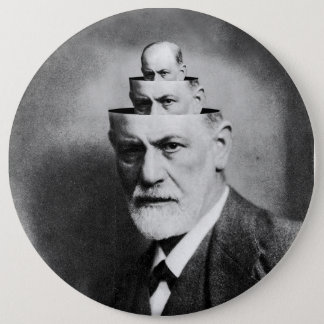 Sigmund Freud 6 Inch Round Button