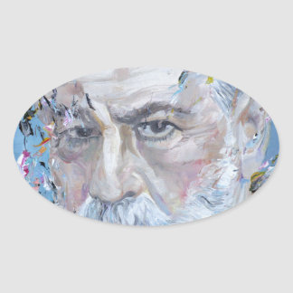 SIGMUND FREUD - oil portrait Oval Sticker