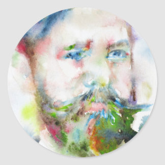 SIGMUND FREUD - watercolor portrait.1 Classic Round Sticker