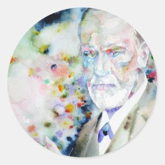 SIGMUND FREUD - watercolor portrait.2 Classic Round Sticker