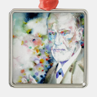 SIGMUND FREUD - watercolor portrait.2 Metal Ornament