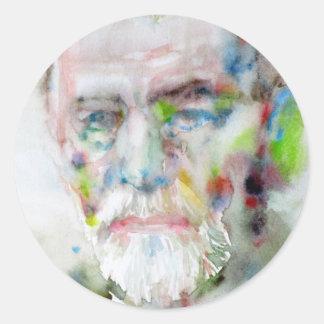 sigmund freud - watercolor portrait.3 classic round sticker