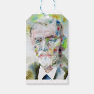 sigmund freud - watercolor portrait.3 gift tags