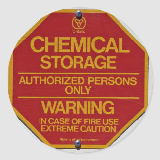 Sign board indicating Chemical storage Round Sticker