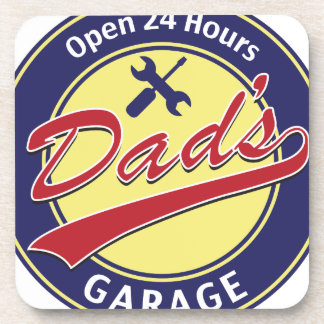 """Sign """"Dad's Garage"""" with editable text Beverage Coasters"""