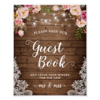 Sign Guestbook Rustic Floral String Lights Lace
