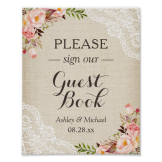 Sign Guestbook Wedding Rustic Burlap Lace Floral
