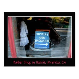 Sign in Barber-Shop Window, Murrieta, CA Postcard