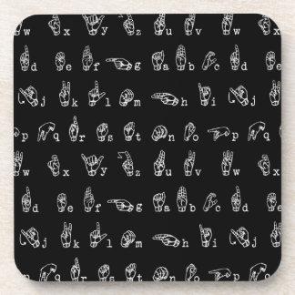 Sign Language Alphabet // White on Black // Coaster