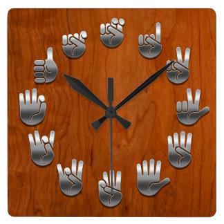 Sign Language -Woodgrain Wallclock