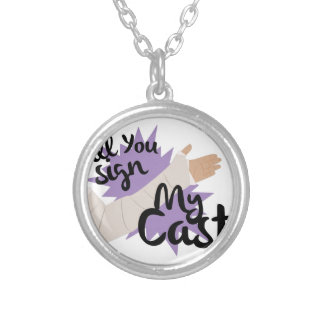 Sign My Cast Silver Plated Necklace