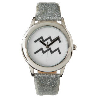 Sign of Aquarius Kids Silver Glitter Watches