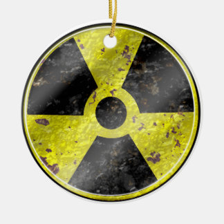 Sign of the times - fallout nuke radiation round ceramic ornament