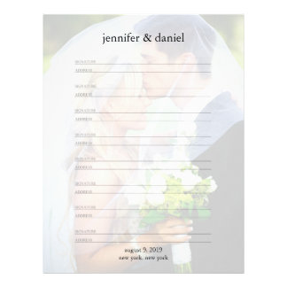 Signature Address Lined Wedding Guest Book Pages Letterhead