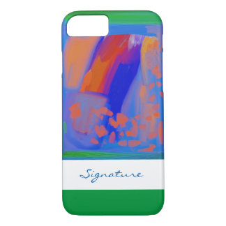 SIGNATURE ART | blue, orange and green painting iPhone 7 Case