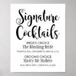 Signature Cocktails Poster Sign   Black Script