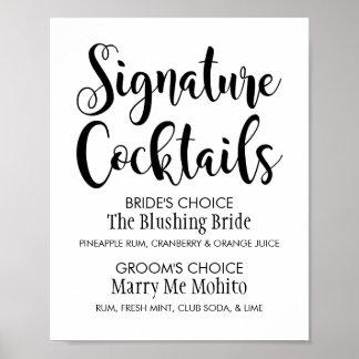 Signature Cocktails Poster Sign | Black Script