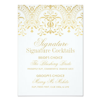 Signature Cocktails Sign | Gold Vintage Glamour Card