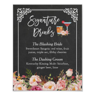 Signature Drink Cocktail Floral Chalkboard Wedding Poster
