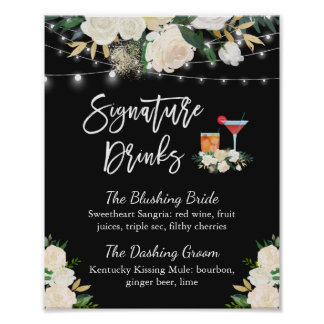 Signature Drinks Cocktail Ivory Floral Wedding Poster