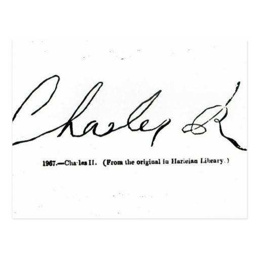 Signature of Charles II Post Cards