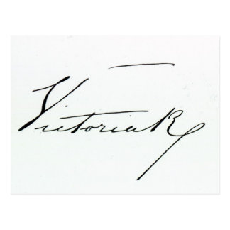Signature of Queen Victoria (pen and ink on paper Postcard